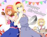 4girls alice_margatroid alternate_hairstyle apron bangs blue_apron blue_dress blue_eyes blush bowl brown_eyes cake capelet closed_eyes closed_mouth commentary_request cookie_(touhou) cowboy_shot dress dual_wielding eyebrows_visible_through_hair foil food fried_chicken frilled_hairband frilled_neckwear frills fruit hair_between_eyes hairband happy_birthday heart highres hinase_(cookie) holding holding_bowl looking_at_another looking_at_viewer looking_to_the_side multiple_girls multiple_persona neckerchief one_eye_closed open_mouth parody pink_hairband pink_neckwear pink_sash red_eyes red_hairband sakuna_brownie sash short_hair smile strawberry streamers style_parody touhou twintails whisk white_capelet