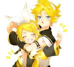 1boy 1girl ^^^ arm_around_neck arm_warmers bangs bare_shoulders belt black_collar blonde_hair blue_eyes bow clenched_hand closed_eyes collar commentary grin hair_bow hair_ornament hairclip headphones highres kagamine_len kagamine_rin leaning_forward nail_polish neckerchief open_mouth oyamada_gamata raised_eyebrow sailor_collar school_uniform shirt short_hair short_ponytail short_sleeves shoulder_tattoo sleeveless sleeveless_shirt smile spiky_hair swept_bangs tattoo upper_body vocaloid white_background white_bow white_shirt yellow_nails yellow_neckwear