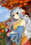 1girl autumn_leaves bangs blue_sleeves bow breasts clothing_cutout cowboy_shot day detached_sleeves dress expressionless grey_hair hatchet highres holding holding_weapon kaigen_1025 leaf long_hair looking_at_viewer multicolored multicolored_clothes multicolored_dress oriental_hatchet outdoors red_bow red_eyes sakata_nemuno single_strap solo standing touhou tree very_long_hair wavy_hair weapon