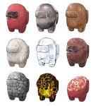 among_us crewmate_(among_us) english_commentary food fur highres ice meat molten_rock rock simple_background spacesuit standing still_life stone subakeye texture white_background wood