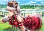1girl animal_ears armband ear_covers gloves gold_ship_(umamusume) hat highres horse_ears horse_tail lain leaning_forward long_hair racetrack sweat tail umamusume white_gloves