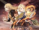 2girls black_jacket black_skirt blonde_hair blue_eyes blue_legwear book brown_capelet capelet commentary_request cowboy_shot da-cart fire_emblem fire_emblem:_three_houses from_side garreg_mach_monastery_uniform high-waist_skirt highres holding holding_book ingrid_brandl_galatea jacket juliet_sleeves long_hair long_sleeves luin_(fire_emblem) mercedes_von_martritz multiple_girls one_eye_closed polearm puffy_sleeves skirt skirt_set spear standing thigh-highs torn_clothes weapon