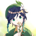 1boy androgynous bangs beret black_hair blue_eyes blue_hair bow braid cape collared_cape collared_shirt commentary_request covered_mouth eyebrows_visible_through_hair flower genshin_impact gradient_hair green_eyes green_headwear hair_flower hair_ornament harupipi678 hat highres holding holding_flower leaf looking_at_viewer male_focus multicolored multicolored_eyes multicolored_hair shirt short_hair_with_long_locks solo twin_braids venti_(genshin_impact) white_background white_flower white_shirt