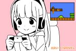 1-up_mushroom 1girl ?_block bangs blunt_bangs blush casual chair character_name closed_mouth commentary_request controller disconnected_mouth dot_nose english_text game_controller gamepad gaming_chair hands_up headphones highres hitoribocchi_no_marumaru_seikatsu holding holding_controller holding_game_controller honshou_aru hood hood_down hoodie katsuwo_(cr66g) long_hair long_sleeves looking_down mario mario_(series) on_chair partially_colored pink_background playing_games sidelocks sitting smile solo super_mario_bros. upper_body warp_pipe