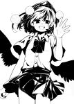 1341398tkrtr 1girl :d bangs bird_wings bow bowtie collared_shirt cowboy_shot hat highres looking_at_viewer monochrome open_mouth pom_pom_(clothes) shameimaru_aya shirt short_hair short_sleeves simple_background skirt smile solo standing tokin_hat touhou wings