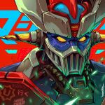 character_name english_commentary highres looking_ahead mazinger_z mazinger_z_(mecha) mecha muhammad_firdaus no_humans science_fiction signature solo super_robot upper_body yellow_eyes