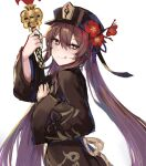 1girl absurdres bangs black_coat black_headwear blush breasts brown_hair coat flower genshin_impact hat hat_flower highres hitomin_(ksws7544) hu_tao licking_lips long_hair long_sleeves looking_at_viewer plum_blossoms polearm red_eyes small_breasts smile spear symbol-shaped_pupils tongue tongue_out twintails very_long_hair weapon