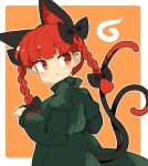 1girl :3 animal_ears bangs black_bow border bow braid cat_ears cat_tail closed_mouth cowboy_shot dress extra_ears eyebrows_visible_through_hair green_dress hair_bow ini_(inunabe00) kaenbyou_rin long_sleeves looking_back medium_hair multiple_tails nekomata orange_background orange_eyes redhead side_braids simple_background smile solo standing tail touhou twin_braids white_border