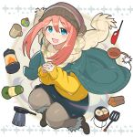 1girl :d absurdres bangs beanie blue_eyes blue_skirt blush boots brown_footwear brown_headwear brown_legwear brown_scarf commentary_request cup eyebrows_visible_through_hair firewood food fried_egg fringe_trim frying_pan full_body fur-trimmed_boots fur_trim hair_between_eyes hands_clasped hat highres interlocked_fingers kagamihara_nadeshiko kasa_list lantern lighter long_sleeves looking_at_viewer mug open_mouth own_hands_together pantyhose pink_hair puffy_long_sleeves puffy_sleeves sausage scarf sidelocks skirt sleeves_past_wrists smile solo spatula sweater white_background yellow_sweater yurucamp