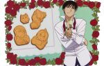 1boy absurdres alternate_costume black_eyes black_hair black_hayate border closed_mouth contrapposto cookie dress_shirt edward_elric facing_viewer fingernails flower food frilled_sleeves frills fullmetal_alchemist half-closed_eyes hand_on_hip hand_up head_tilt high_collar highres holding holding_flower leaf light_smile ling_yao long_sleeves looking_afar loose_necktie male_focus mouth_hold necktie official_art outstretched_hand pants partially_unbuttoned pectorals petals plant purple_pants red_flower red_neckwear red_rose riza_hawkeye rose rose_petals roy_mustang shirt spiky_hair tablecloth tsurime upper_body white_border white_flower white_rose white_shirt