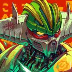 character_name english_commentary highres koutetsu_jeeg koutetsu_jeeg_(mecha) looking_to_the_side mecha muhammad_firdaus no_humans piston science_fiction solo super_robot upper_body yellow_eyes