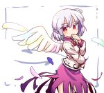 1girl bangs bow bowtie braid covered_mouth cowboy_shot dress eyebrows_visible_through_hair french_braid from_side isu_(is88) jacket kishin_sagume long_sleeves looking_at_viewer purple_dress red_bow red_eyes red_neckwear single_wing solo standing touhou white_background white_jacket white_wings wings