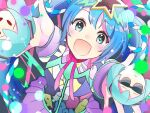 1girl aoiyui blue_hair commentary from_above hair_ornament hatsune_miku hatsune_miku_expo long_hair looking_at_viewer multicolored multicolored_clothes open_mouth outstretched_arms roe skirt smile solid_oval_eyes star_(symbol) star_hair_ornament star_in_eye sunglasses symbol_in_eye twintails very_long_hair vocaloid