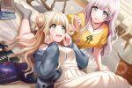 blonde_hair blue_eyes blush d4dj dress fukushima_noa long_hair smile