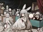 6+girls animal_ears bangs blood bloody_clothes closed_eyes closed_mouth collared_dress doll dress grey_hair hair_between_eyes highres knees_up long_hair long_sleeves looking_at_viewer multiple_girls original rabbit_ears red_eyes short_eyebrows sleeves_past_wrists solo_focus thick_eyebrows u_(rat3333) very_long_hair white_dress