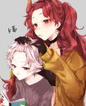 1boy 1girl bangs_pinned_back black_choker black_gloves brown_jacket brown_sweater choker closed_mouth collarbone cross cross_earrings dola_(nijisanji) dragon_horns ear_piercing earrings eyebrows_visible_through_hair forehead gloves grey_background grey_hair heart heart_earrings highres hiko_(zem_n) horns jacket jewelry kuzuha_(nijisanji) long_sleeves looking_away mouth_hold nijisanji open_clothes open_jacket piercing pointy_ears reading red_eyes redhead ribbed_sweater simple_background sleeves_past_wrists sweater upper_body virtual_youtuber