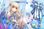 blonde_hair blue_eyes blush d4dj dress fukushima_noa long_hair smile umbrella white_day