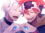 2boys :d black_headband closed_eyes eyes_visible_through_hair hair_between_eyes hands_together headband kyan_reki langa_hasegawa male_focus messy_hair multiple_boys open_mouth pose redhead simple_background sk8_the_infinity smile towoff upper_body white_background white_hair