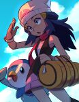 1girl :o absurdres bag bare_shoulders beanie black_shirt blue_eyes blue_hair blue_sky clouds dawn_(pokemon) duffel_bag gen_4_pokemon hair_ornament hairclip hat highres looking_ahead m4tcham0chi pink_skirt piplup poke_ball_symbol pokemon pokemon_(creature) pokemon_(game) pokemon_dppt poketch red_scarf scarf shade shading_eyes shirt skirt sky watch watch white_headwear yellow_bag