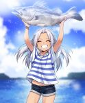 1girl :d absurdres animal arms_up blue_shorts blurry blurry_background blush character_request closed_eyes commentary_request copyright_request cowboy_shot day fish grin highres holding holding_animal holding_fish korean_commentary long_hair ocean open_mouth shell_necklace shirt short_shorts short_sleeves shorts silver_hair sky smile solo striped striped_shirt supernew white_shirt wristband