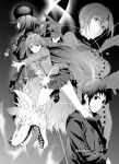 2boys 3girls absurdres aozaki_aoko aozaki_touko artist_name blazer blood blood_on_face capelet coat collared_jacket earrings fur-trimmed_sleeves fur_collar fur_hat fur_trim greyscale hat highres jacket jewelry kneehighs kuonji_alice loafers long_hair lugh_beowulf mahou_tsukai_no_yoru monochrome multiple_boys multiple_girls pleated_skirt scarf school_uniform sharp_teeth shizuki_soujuurou shoes short_hair skirt stud_earrings takai_isshiki teeth tongue tongue_out ushanka wolf
