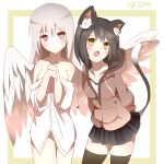2girls :o animal_ear_fluff animal_ears bare_shoulders black_footwear black_hair black_skirt breasts cat_ears cat_girl cat_tail collarbone dress_shirt eyebrows_visible_through_hair fang feathered_wings grey_hair highres hood hood_down hoodie looking_at_viewer medium_hair miniskirt multiple_girls naked_shirt non_(wednesday-classic) original pleated_skirt shirt short_hair skirt tail thigh-highs white_shirt white_wings wings