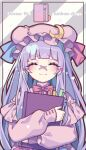 bangs blue_ribbon blunt_bangs blush book book_hug bow bowtie closed_eyes commentary crescent crescent_hat_ornament dress english_commentary english_text facing_viewer grey_background hat hat_ornament hat_ribbon heart highres holding holding_book kyouda_suzuka long_hair long_sleeves mob_cap nail_polish patchouli_knowledge pink_dress pink_headwear pink_nails purple_hair red_bow red_neckwear red_ribbon ribbon smile striped striped_background touhou twitter_username upper_body
