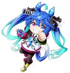 1girl ahoge animal_ears bangs black_legwear black_ribbon blue_eyes blue_hair boots chibi clenched_hand commentary_request eyebrows_visible_through_hair full_body gradient_hair hair_between_eyes hair_ribbon heterochromia highres hood hood_down hoodie horse_ears kuena long_hair multicolored_hair outstretched_arm pantyhose ribbon simple_background solo standing standing_on_one_leg stuffed_animal stuffed_bunny stuffed_toy twin_turbo_(umamusume) twintails umamusume v-shaped_eyebrows very_long_hair violet_eyes white_background white_hoodie yellow_footwear