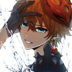 1boy bangs blue_eyes close-up commentary_request earrings ebibi_chiriri genshin_impact gloves hair_between_eyes hand_on_own_face highres jewelry male_focus mask mask_on_head open_mouth orange_hair short_hair simple_background single_earring smile solo tartaglia_(genshin_impact) water white_background