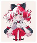 absurdres ahoge artist_logo artist_name bandaged_arm bandages black_bow black_choker black_dress blush border bow choker colored_skin double_bun dress eyebrows_visible_through_hair frilled_dress frills green_eyes grey_hair grey_skin hair_bow hands_on_own_face heart-shaped_ornament heterochromia highres hololive hololive_indonesia kureiji_ollie looking_to_the_side multicolored multicolored_eyes multicolored_hair pink_hair red_bow red_eyes redhead satsumaroo simple_background stitched_face stitches torn_clothes torn_dress white_border yellow_eyes