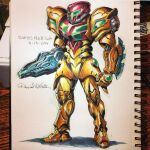 1girl absurdres arm_cannon artist_name dated english_commentary highres looking_ahead mecha-zone metroid notebook open_hand photo_(medium) redesign samus_aran science_fiction solo varia_suit visor weapon