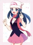 1girl :d beanie blue_eyes blue_hair blush bracelet commentary_request dawn_(pokemon) eyelashes gen_4_pokemon hands_up haru_(haruxxe) hat highres index_finger_raised jewelry long_hair open_mouth piplup pokemon pokemon_(game) pokemon_dppt polka_dot_border red_scarf scarf sidelocks sleeveless smile tongue white_headwear