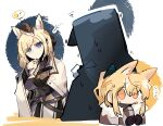 1other 2girls ? animal_ear_fluff animal_ears arknights armor bangs behind_another black_jacket blemishine_(arknights) blonde_hair blue_eyes doctor_(arknights) expressionless eyebrows_visible_through_hair hat hiding highres hood hooded_jacket horse_ears horse_girl jacket long_hair long_sleeves looking_at_another multiple_girls odmised sweat upper_body whislash_(arknights)
