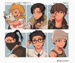 1girl 5boys annoyed apex_legends arm_behind_head bandana beanie black_vest blonde_hair blue_eyes blush brown_hair character_name character_request collared_shirt copyright_request crypto_(apex_legends) glasses grey_headwear grey_jacket hair_behind_ear hat head_tilt holding holding_pokemon jacket jewelry looking_at_viewer looking_down multiple_boys necklace one_eye_closed pokemon pokemon_(creature) sanpaku shirt six_fanarts_challenge stack_(sack_b7) tied_hair vest white_shirt