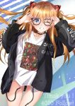 1girl @shun blue_eyes blush glasses highres interface_headset jacket long_hair neon_genesis_evangelion no_pants one_eye_closed orange_hair smile souryuu_asuka_langley twintails