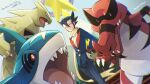1boy bangs black_hair black_jacket black_pants buttons commentary_request elite_four gen_2_pokemon gen_3_pokemon gen_5_pokemon grimsley_(pokemon) hair_between_eyes hand_on_hip highres jacket krookodile long_scarf long_sleeves looking_at_viewer male_focus momoji_(lobolobo2010) outdoors pants parted_lips pokemon pokemon_(creature) pokemon_(game) pokemon_bw pokemon_masters_ex scarf sharpedo smile spiky_hair standing translation_request tyranitar yellow_scarf