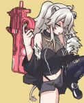 1girl :o animal_ears bangs black_footwear black_jacket black_legwear bullpup chained_tan ear_piercing grey_skirt gun half-closed_eyes holding holding_gun holding_weapon hololive jacket lion_ears lion_girl lion_tail looking_to_the_side navel open_mouth p-chan_(p-90) p90 piercing shishiro_botan single_legging skirt solo submachine_gun sword_art_online sword_art_online_alternative:_gun_gale_online tail thigh_strap torn_clothes torn_legwear twintails virtual_youtuber weapon