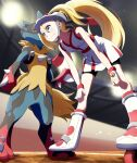 1girl absurdres bangs bare_arms bent_over bike_shorts blonde_hair blue_eyes blurry blush breasts closed_mouth collarbone commentary_request dress eyelashes fingerless_gloves from_below gen_4_pokemon gloves hair_between_eyes hands_on_own_knees helmet highres korrina_(pokemon) light long_hair lucario mega_lucario mega_pokemon negimiso1989 pokemon pokemon_(creature) pokemon_(game) pokemon_xy ponytail roller_skates shiny shiny_hair short_dress skates smile standing two_side_up v-shaped_eyebrows white_dress white_gloves