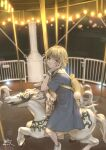 1girl absurdres backpack bag blonde_hair blue_dress bob_cut carousel cup disposable_cup dress highres kyouki_no_kimi legs looking_at_viewer night original outdoors pinafore_dress red_eyes sailor_dress shoes short_hair signature solo