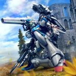 clenched_hand clouds green_eyes gun gundam highres hiropon_(tasogare_no_puu) holding holding_gun holding_weapon kneeling mecha mobile_suit one_knee photo_background ruins science science_fiction shoulder_cannon sky solo v_gundam victory_gundam weapon