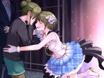 1boy 2girls aojiroi_fokkusu backstage black_cardigan cardigan covered_eyes crying formal glint gloves green_skirt hands_on_own_face head_out_of_frame highres idol idolmaster idolmaster_shiny_colors imminent_hug multiple_girls nanakusa_hazuki nanakusa_nichika office_lady producer_(idolmaster) running shirt siblings sisters skirt sleeveless sleeveless_shirt suit teardrop tears