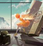 1girl ankle_boots backwards_text blue_sky book boots cardcaptor_sakura dress english_text fountain_pen hat highres inkwell open_book orange_dress pen pinlin short_hair sky solo tagme thigh-highs thighhighs_under_boots white_legwear window wooden_table