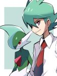 1boy ayo_(ayosanri009) bangs border bright_pupils closed_mouth collared_shirt commentary_request gallade gen_4_pokemon green_background green_hair looking_at_viewer male_focus necktie outside_border pokemon pokemon_(anime) pokemon_(creature) pokemon_swsh_(anime) red_neckwear rinto_(pokemon) shirt short_hair smile upper_body violet_eyes white_border white_pupils white_shirt