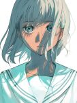 1girl bangs blank_stare close-up closed_mouth collarbone commentary expressionless face grey_eyes grey_hair highres kotatiyu looking_at_viewer monochrome original pale_color portrait sailor_collar short_hair simple_background solo white_background wind