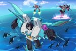3boys arm_cannon clenched_hands decepticon flying gerwalk glowing glowing_eyes head_tilt highres holding holding_phone insignia lantana0_0 mecha multiple_boys no_humans ocean orca phone skywarp smile starscream thundercracker transformers weapon