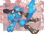 closed_mouth commentary_request fang fang_out gen_4_pokemon highres holding looking_back multicolored multicolored_eyes nullma pokemon pokemon_(creature) riolu shiny shiny_skin smile solo toes