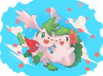 ;d blush commentary_request flower gen_4_pokemon green_eyes highres kikuyoshi_(tracco) mythical_pokemon no_humans one_eye_closed open_mouth petals pink_flower pokemon pokemon_(creature) shaymin shaymin_(land) shaymin_(sky) signature smile toes tongue white_fur