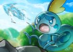 blue_eyes blurry bright_pupils clouds commentary_request creature day gen_8_pokemon kaosu_(kaosu0905) lizard no_humans open_mouth outdoors pokemon pokemon_(creature) signature sky sobble starter_pokemon tongue water white_pupils