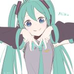1girl aqua_hair aqua_neckwear bare_shoulders black_sleeves blue_eyes character_name commentary detached_sleeves double_v gesture grey_shirt hair_ornament hands_up hatsune_miku headphones highres letter long_hair looking_at_viewer m0ti necktie shirt sketch sleeveless sleeveless_shirt smile solo twintails twitter_username upper_body v vocaloid white_background