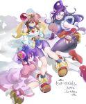 3girls absurdres amelia_wil_tesla_seyruun bloodberry bloodberry_(cosplay) blue_eyes bodysuit bow breasts brown_hair cherry_(saber_j) cherry_(saber_j)_(cosplay) cosplay hayashibara_megumi highres ichi_orgin japanese_clothes large_breasts lime_(saber_j) lime_(saber_j)_(cosplay) lina_inverse multiple_girls naga_the_serpent pink_bow purple_hair red_eyes saber_marionette_j seiyuu_connection slayers spandex